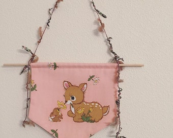 Kids Wall Decor/Wall Hanging/Babies decor/Fawn/Deer/New Vintage/PinkPolka Dots