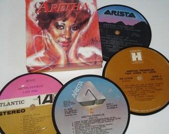 ARETHA FRANKLIN Coasters vinyl record drink coasters R & B