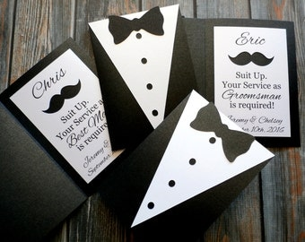 CUSTOM Groomsman Invitation - Suit Up. Your service as Groomsman is required! - Best Man, Groomsman, Junior Groomsman, Ring Bearer
