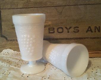 Milkglass Goblets Set of 2 White Grapes