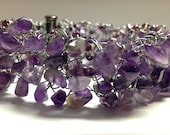 Special ORDER **Jaylene - Iowa only** Knitted Wire Bracelet - Amethyst chips and seed beads on silver tone wire