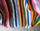 Rainbow stripe afghan, large vintage rainbow blanket, large afghan, rainbow afghan, stripe afghan, multicolored afghan, large colorful throw