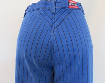 Vintage 1980's Rockies high waisted blue & black striped denim jeans 28X32