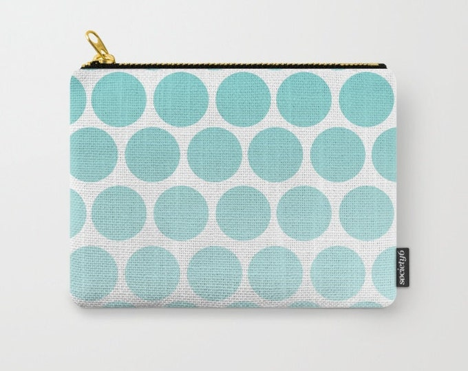 Blue Polka Dot Carry All Pouch - Make-up Bag-Original Art- Pouch- Toiletry Bag - Change Purse - Organizing Bag - Made to Order