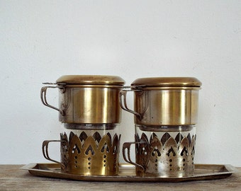 FRENCH COFFEE MAKER - vintage set of 2 coffee glasses, filter coffee, silverplated glass coffee mug, coffee machine,single cup coffee maker,