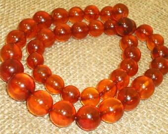 60gr. Very Beautiful Genuine Baltic Honey Egg Yolk Amber Round Beads Necklace (84)