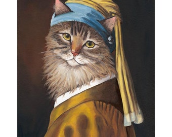 Cat Canvas Prints, Cat with a Pearl Earring, Maine Coon Cat, Tiger Cat Art