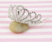 Rhinestone Princess Crown Tiara Comb for Bridal Wedding Pagents ,Silver and Crystal Tiara, Mini Tiara