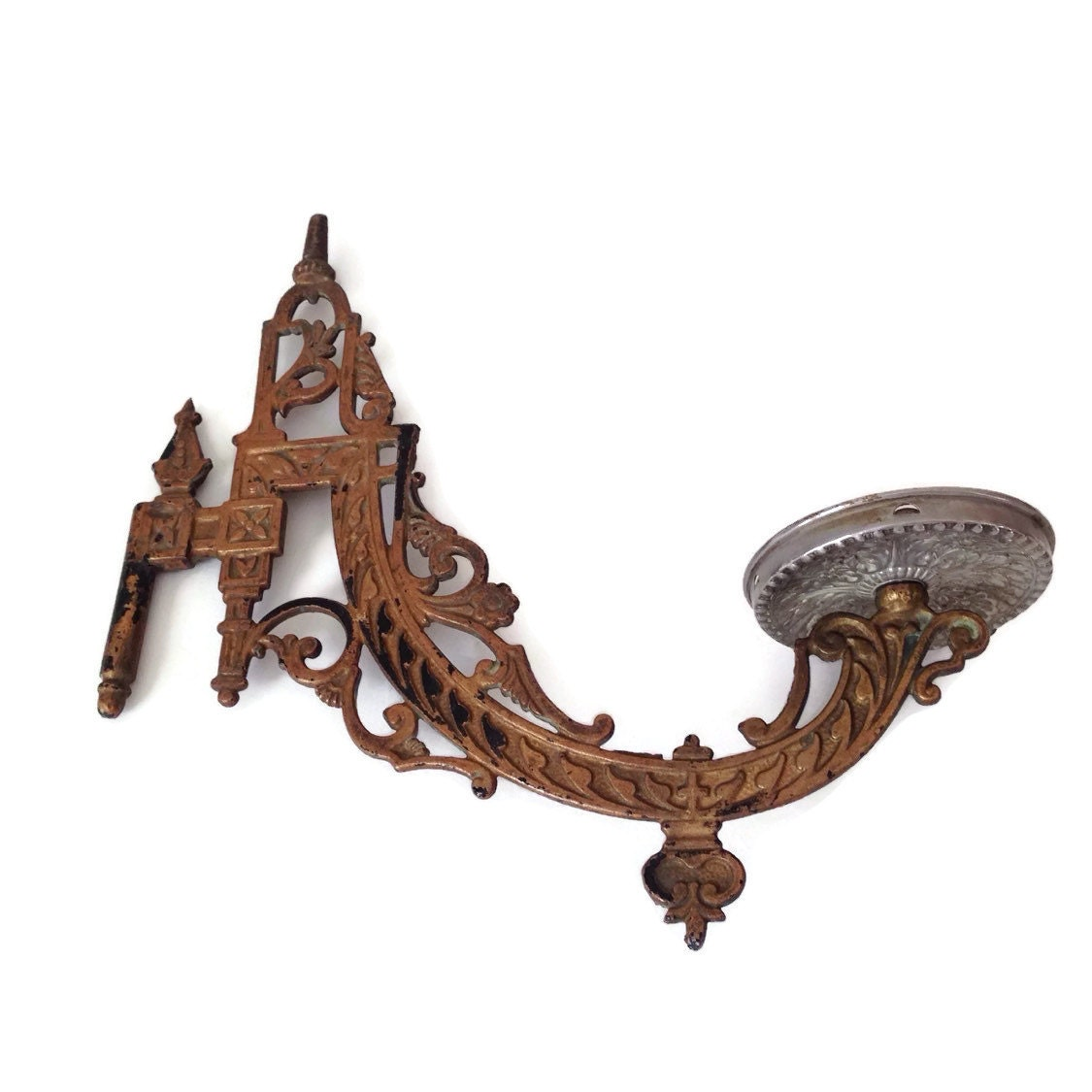 Wall Mounted Lamp Holder : Antique Oil Lamp Holder Cast Iron Victorian Wall Mount Wall