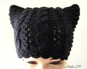 Black cat hat, knit cat hat, women's cat hat, cat ear hat, hand knitted, cable beanie, animal hat, hat with small horns, adult cat hat