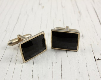 Swank Gold Tone Black Cabochon Rectangle Cuff Links (vintage retro 50s 60s cufflinks geometric square signed small little)
