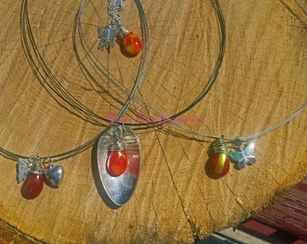 Autumn charm fused glass teardrop necklaces