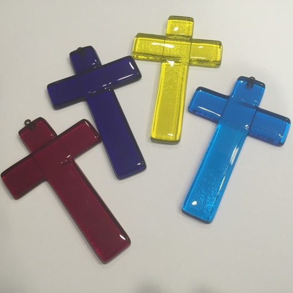 Fused Glass Cross with Hook