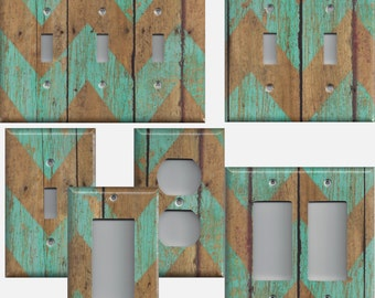 Distressed Barnwood Look Turquoise Blue Chevron Light Switchplates and Wall Outlet Covers Home Decor Accents Light Switch Covers