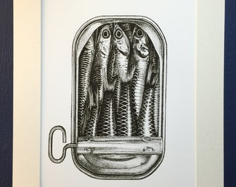 Sardines - Art Print from an original ink drawing. Black and white print. Contemporary Art.
