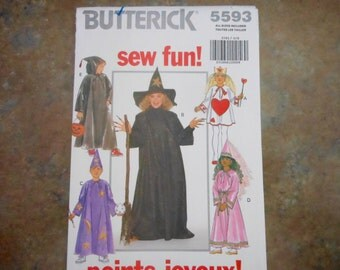 Witch, Wizard, Princess or Queen of Hearts Costume-Butterick 5593-All Child Sizes
