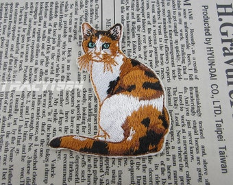 Fabric Cat Embroidered Applique Iron On Patch