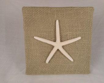 25 % OFF SALE - Handmade burlap and sea shell nautical plaque, beach decor, nautical decor