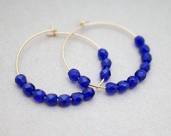 Cobalt Blue Beaded Hoop Earrings, Modern Everyday Jewelry, Simple Boho Gypsy, Gift For Her, Earrings