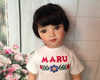 "Embroidered t-shirt & capris for 20"" Effner Maru doll"