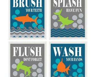 shark bathroom wall art kids bathroom wash flush brush splash
