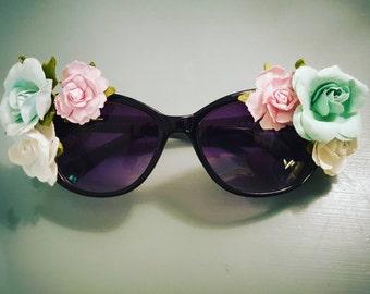 Bohemian Flower Plastic Cat-Eye Sunglasses