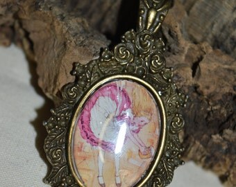 Alice in Wonderland - Alice image ornate pendant