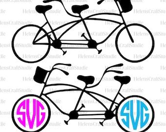 Tandem bike SVG cutting file / silhouette studio and cricut bike SVG files / tandem bike instant download / monogram tandem bike