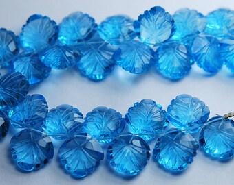 7 Inch Strand,Swiss Blue Quartz Carving Faceted Cushion Shape Briolettes 12mm