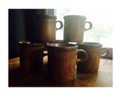 Vintage McCoy Pottery -Brown Mugs/Cups- McCoy Canyon Mesa 1412 -SET OF 6-