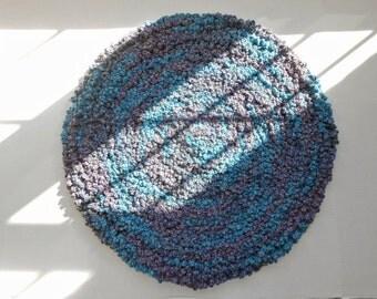 Round Purple, Blue, Wool Area Rug - Handmade