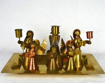 Mexican Brass & Copper Angel Candle Holders on Brass Tray, Six Handmade Angel Figures, Hecho En Mexico, Mixed Metals, w Neiman Marcus Tray