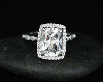 Fine Flawless White Topaz Cushion and Diamond Halo Engagement Ring in 14k White Gold with White Topaz Cushion 11x9mm
