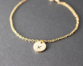 Initial Bracelet  Hand Stamped Initial Bracelet // Gold Disc Initial Bracelet // Initial Bracelet //personalized bracelet
