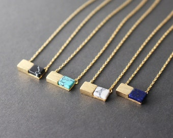Rectangular Gemstone necklace // Gemstone necklace // Black gemstone necklace // marble necklace