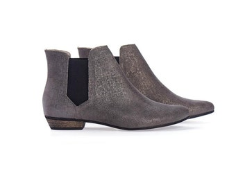 Ellie Silver Leather Ankle boots with stretch side panel  by Tamar Shalem