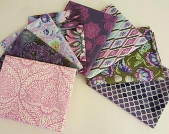Eden Purple Fat Quarter Bundle (8 prints, 2 yards total) - Tula Pink - Free Spirit Fabrics