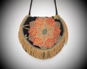 Boho Floral tapestry shoulder bag, fringed cross body bag, tapestry purse