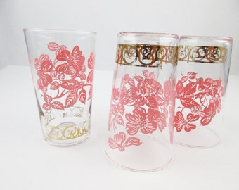 Set of Four Drinking Glasses - Pink Magnolias and Leaves - Gold Designed Band at Bottom- 8 Oz. Glasses - Mix and Match - Libbey Glasses
