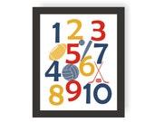 Sports Number Art - CHOOSE COLORS - Sports Nursery Decor, Baby shower Gift, Toddler Room, Number Art, Kids Wall Art, Playroom Art