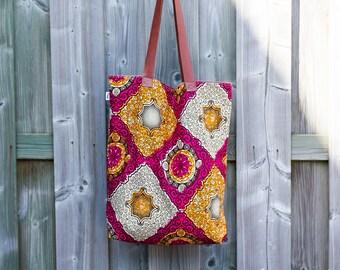 Batik tote bag, African cotton shopping bag, pink and orange