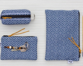 3 blue zipper pouches, set of cosmetic bags, bridesmaid gift boho, coin wallet