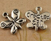 15pcs Butterfly Charms,Created for you, Antique Silver Alloy Pendants Jewelry Findings charm