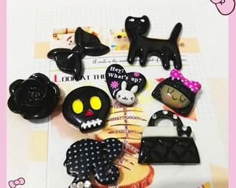Mix Black flower kawaii Decoden kit cell phone case cabochons 8pcs