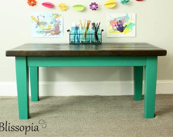 Kids Table, Tapered Legs with Reclaimed Top, Kids Farmhouse Table