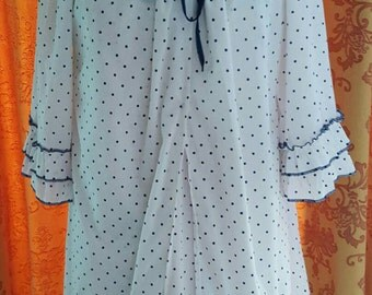 1970s Vintage Babydoll Nighty and Dressing Gown Robe navy spots on white
