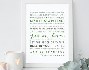 INSTANT DOWNLOAD - Colossians 3:12-15 - Scripture Print Digital File - Print and Frame - Bible Verse Typography