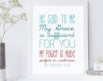 Bible Verse Print - 2 Corinthians 12:9 - Scripture Wall Art - Typography Print - Christian Art