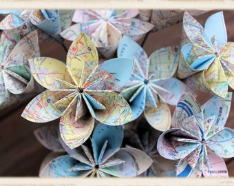 Map paper flowers