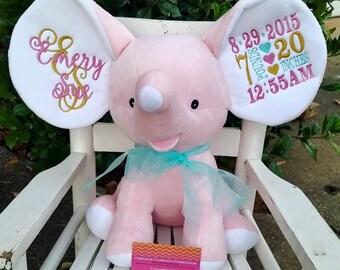 Birth Announcement Elephant, Dumble Elephant, Pink Elephant, Blue elephant, personalized elephant, plush elephant
